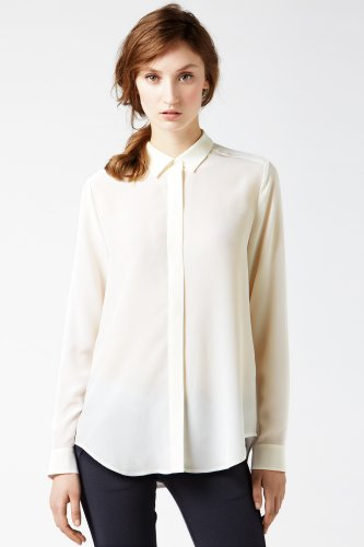 Long Sleeve Crepe Silk Woven Shirt