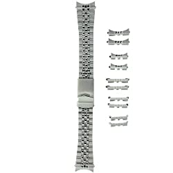 Watch Band Stainless Steel Metal Adjustable Fits 18-22 millimeters End Pieces