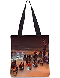 Snoogg Fog In The Top Of Building Digitally Printed Utility Tote Bag Handbag Made Of Poly Canvas
