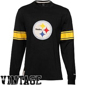 39a3285f93e NFL Reebok Pittsburgh Steelers Black Vintage Applique Premium Long Sleeve T- shirt at SteelerMania
