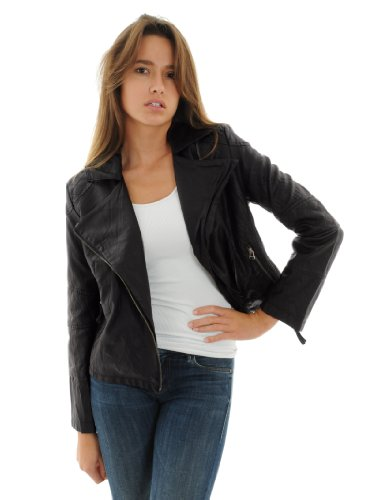 Faux-Leather Womens Black Motorcycle Jacket Asymmetrical Zipper Quilting Detail Sizes: 16