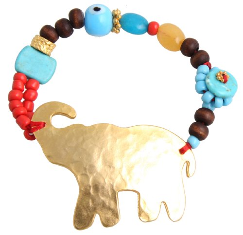 Unique Gold Elephant Bracelet with Wood, Turquoise, Coral, and Glass Beads