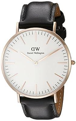 Daniel Wellington Men's Quartz Watch Classic Sheffield Rose with Black Leather Strap 0107DW