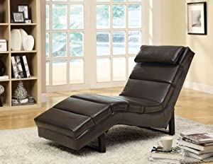 Monarch Specialties Contemporary Dark Brown Leather Chaise