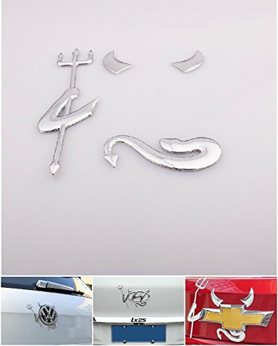 1 Set Superlative Popular 3D Devil Car Sticker Badge Emblem Fit All Logo SUV Truck Color Silver