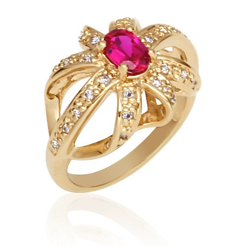 Revoni Feminine and Romantic: Gold Vermeil with Cubic Zirconia and Fuchsia Red Created Ruby Fashion Ring