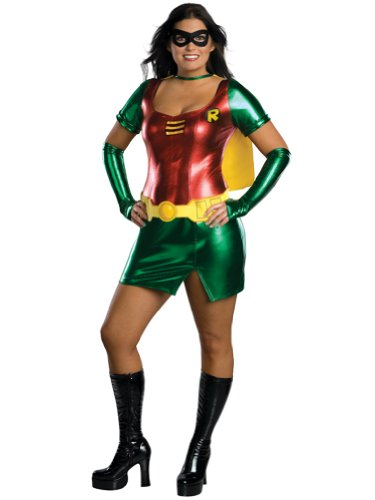 Womens Sexy Superhero Costume Batmans Sidekick Robin Dynamic Duo Mini Dress Cost