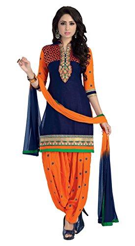 Justkartit-Womens-Unstitched-Blue-Orange-Colour-Party-Wear-Patiyala-Salwar-Kameez-Cotton-With-Resham-Embroidery-Patiyala-Salwar-Suit-Festival-Wear-Salwar-Suit-Diwali-2016-Launch