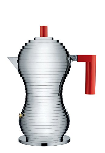 """Alessi MDL02/3 R """"Pulcina"""" Stove Top Espresso 3 Cup Coffee Maker in Aluminum Casting Handle And Knob in Pa, Red"""