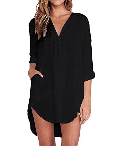 ZANZEA Women's Casual Chiffon Long Sleeve Swallow Tail Loose Blouse Tops Shirt (UK 18, Black)