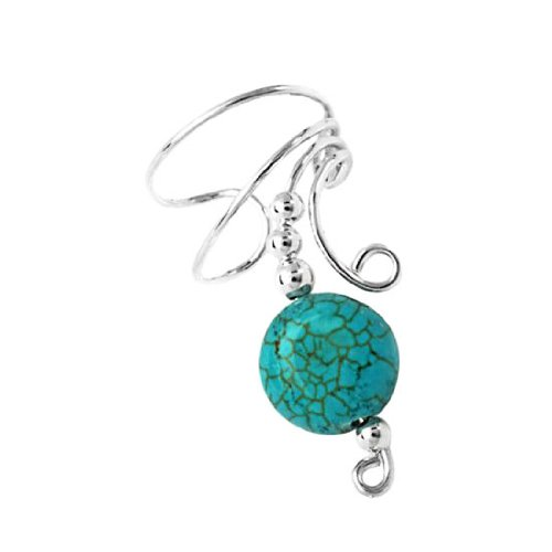 Sterling Silver Right Only Turquoise Disc Wave Ear Cuff Wrap