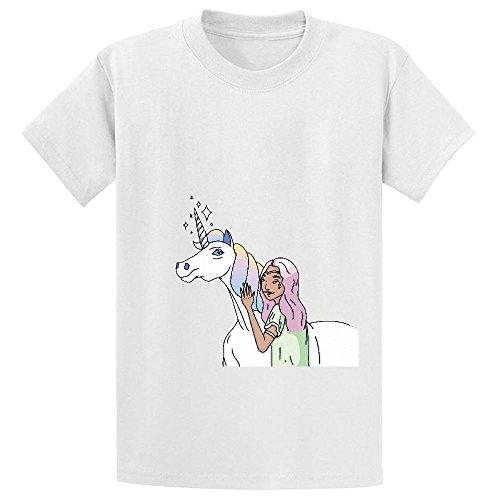 Unicorn Unicorn Girls Unisex Short Sleeve Crew Neck T Shirts White