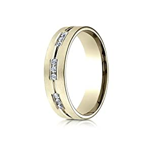 IceCarats Designer Jewelry 18K Yellow Gold 6Mm Comfort-Fit Etched Channel Set 9-Stone Diamond Ring (.18Ct) Size 15