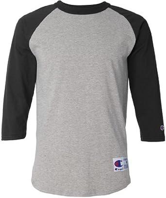 Champion Men's Tagless Baseball Raglan T-Shirt, oxford gry/black, Small