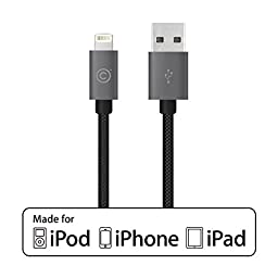 LABC Apple-Certified MFi Lightning Cable Sync & Charge Cable Aluminum Caps Nylon Cable 4 ft / 1.2m iPhone Lightning Cable Charging Cord Nylon Braided Apple USB Cable Data Sync Cable 8 Pin Cable for iPhone 5/5s/5c 6s 6s Plus iPad iPod 5G (LABC-505 GREY)