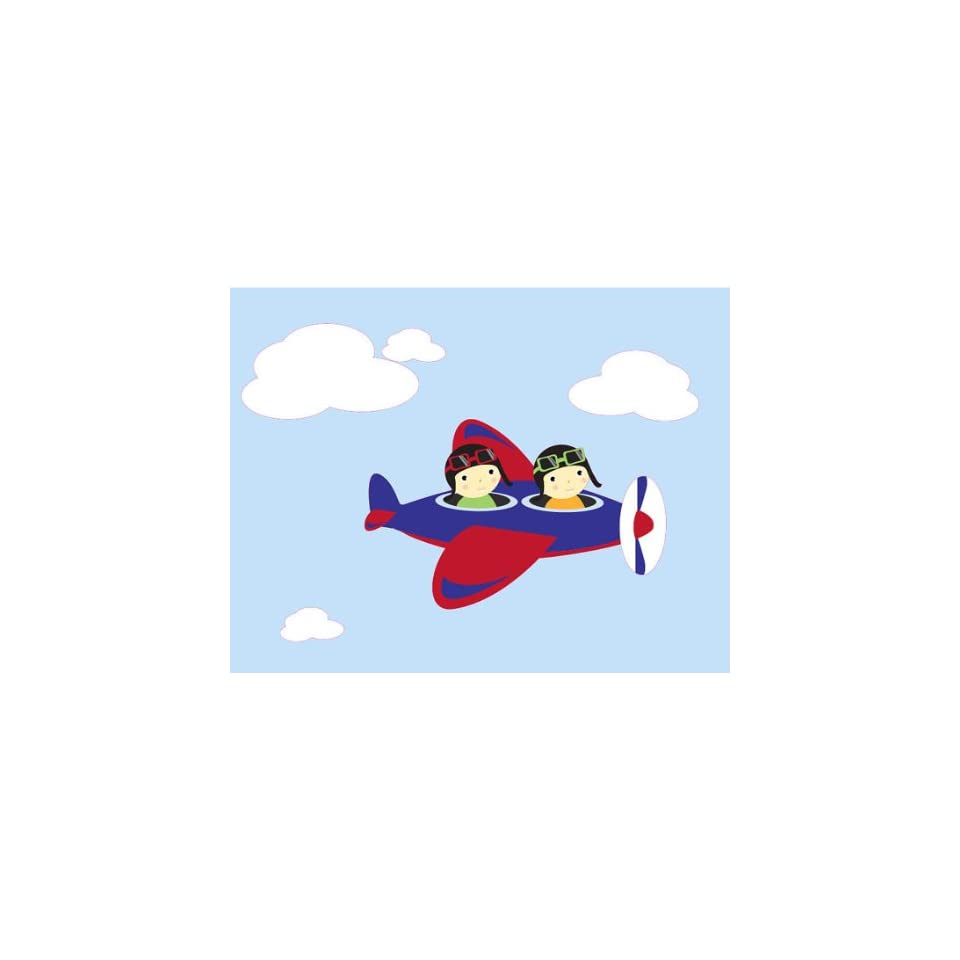 Kids Vinyl Wall Decal Airplane with 2 Kids and Set of Clouds Boy or Girl