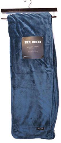 """Plush Throw Blanket Designer Steve Madden Dark Colonial Blue 50"""" X 70"""" With Storage Hanger front-1029689"""