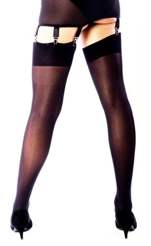 50 Denier Plain Top Opaque Black Nylon Stockings For Thigh 18-24in