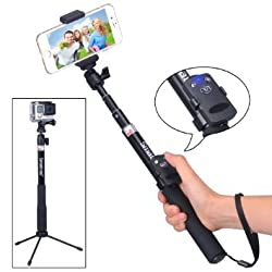 Smatree SmaPole Q4 Bluetooth Selfie Stick +Folding 3 Legs Support Stand for Cell Phones & GoPro Cameras & 1/4
