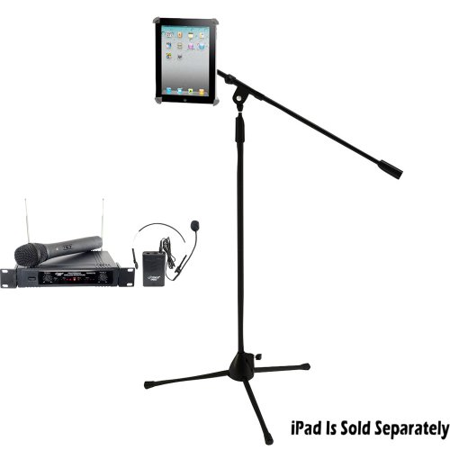Pyle Wireless Mic and Stand Package - PDWM2700 Two Channels VHF Wireless Microphone - PMKSPAD1 Multimedia Microphone Stand With Adapter for iPad 2 (Adjustable for Compatibility w/iPad 1)