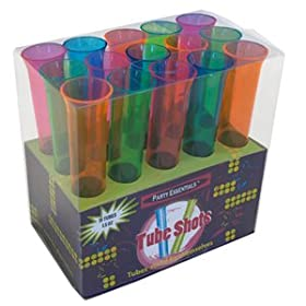 Set of 15 1.5oz Neon Blacklight Reactive Tube Shot Glasses-