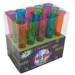 Set of 15 1.5oz Neon Blacklight Reactive Tube Shot Glasses $5.91