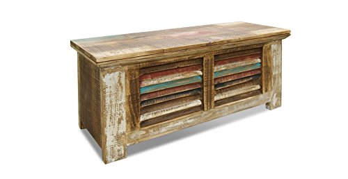 Crafters and Weavers Rustic Distressed Reclaimed Solid Wood Painted Trunk Coffee Table 0