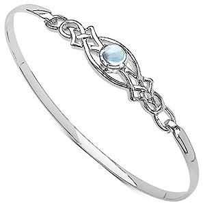 Ladies Rennie Mackintosh Style Sterling Silver 925 Blue Topaz Set Celtic Clip Bangle.