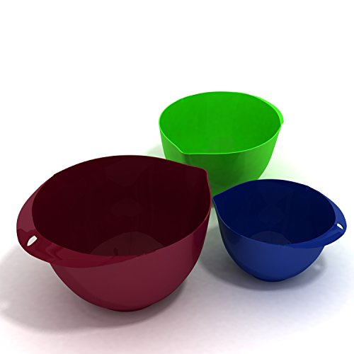 3-Piece Mixing Bowl Set, Eco-Friendly, Melamine & BPA Free. Food Prep Set - 3 Mixing Bowls, Burgundy Wine 6.5L/Tequila Green 3.76L/Marine Blue 2.10L by More Cuisine Essentials BG -2122A