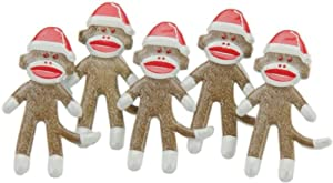 Eyelet Outlet Shape Brads-Christmas Sock Monkey 12/Pkg