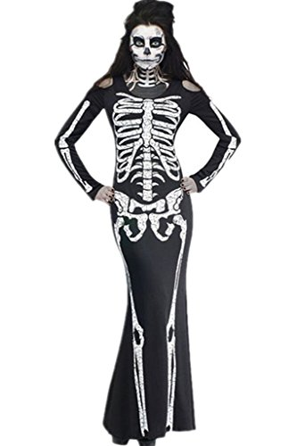 Sidefeel Women's Scary Bone Appetit Skeleton Dress Halloween Costume