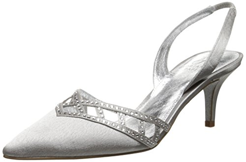 Adrianna Papell Women's Haven Dress Pump, Silver Satin, 6.5 M US