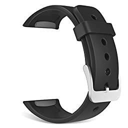 Gear S2 Watch (S2 SM-R720 / SM-R730 ONLY) Band, MoKo Soft Silicone Replacement Sport Band for Samsung Gear S2 Smart Watch, NOT FIT S2 Classic Watch (SM-R732 & SM-R735), NOT FIT Gear Fit2 Watch, BLACK
