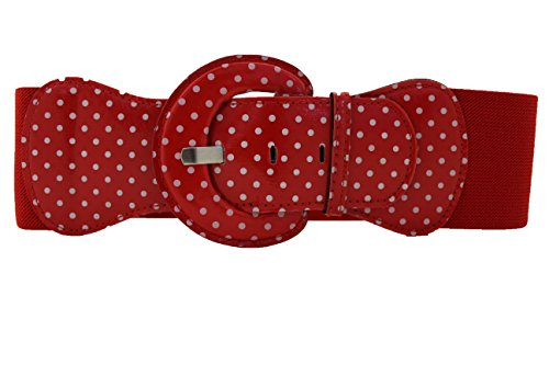 TFJ Women Fashion Belt Elastic Hip Waist Red Stretch Plus Size M L Xl White Polka Dot