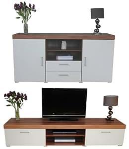 White Walnut Sydney 2 Metre Tv Cabinet Large Sideboard
