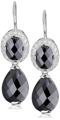 Giorgio Martello Sterling Silver Rhodium Plated Faceted Black Cubic Zirconium Earrings