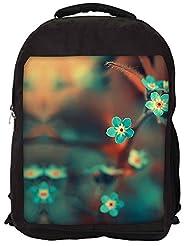 Snoogg Blue Serene Cute Flowers Backpack Rucksack School Travel Unisex Casual Canvas Bag Bookbag Satchel