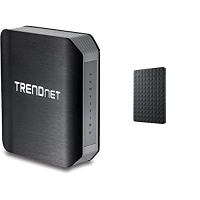 TRENDnet Wireless AC1750 Dual Band Gigabit Router with USB Share Port, TEW-812DRU Version 2.1 and Seagate 3TB Expansion Portable Hard Drive
