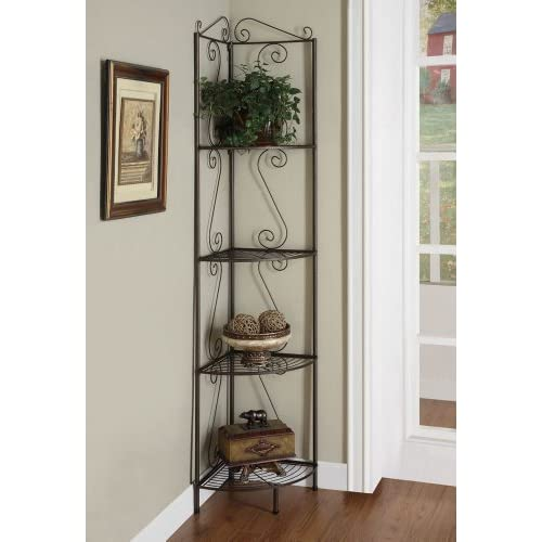 Coaster Home FurnishingsTraditional 4 Tier Metal Corner Shelf Bookcase - Copper