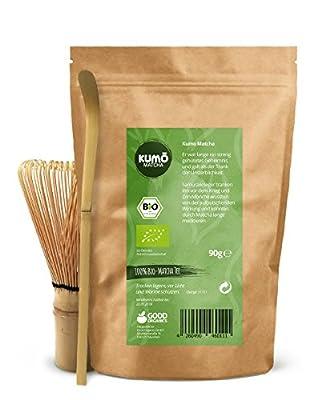 Bio Matcha Set XXL   90g Bio-Matcha + Matcha Besen + Matcha Löffel - 100% Matcha aus nachhaltigem Anbau von Good Organics auf Gewürze Shop