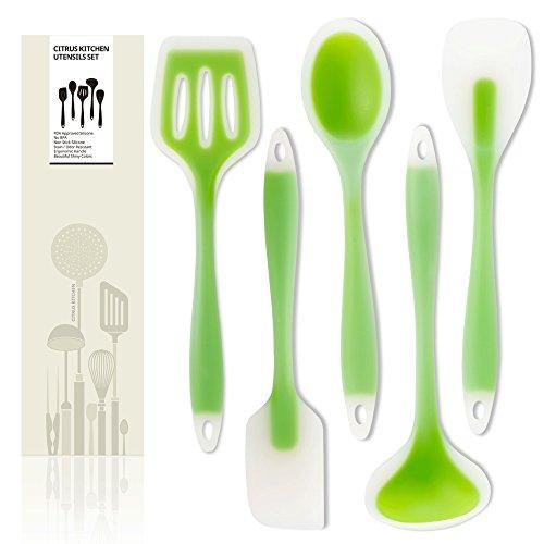 CitrusKitchen Lime green 5 of silicone kitchen utensils set