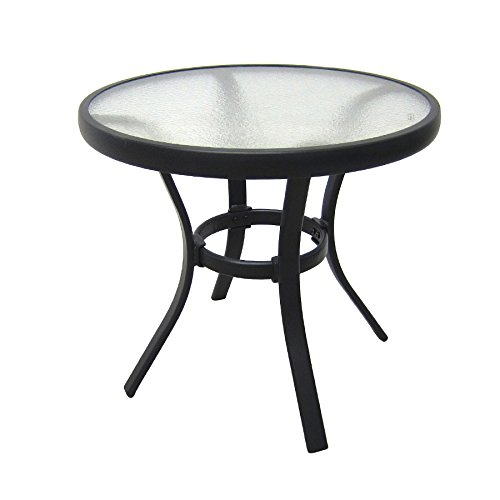 Outdoor Side Table Black Steel Small Round Tempered Glass Top Patio Yard or Porch End Table (Small Patio Side Table compare prices)