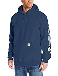 Carhartt Men\'s Big & Tall Signature Sleeve Logo Midweight  Sweatshirt Hooded,New Navy,XX-Large Tall