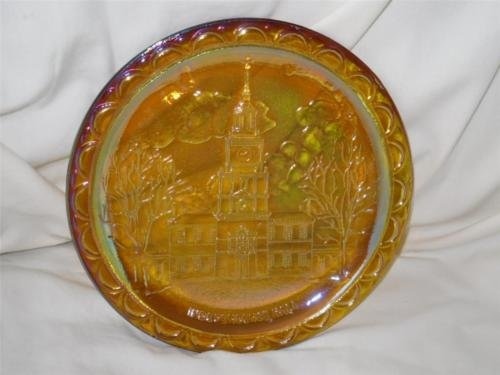 Indiana Glass independence Hall Amber Carnival Glass Plate Depression Carnival Glass