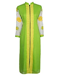 Azra Jamil Lime Green Indian Georgette With Thread Worked Traditional Kurti For Women