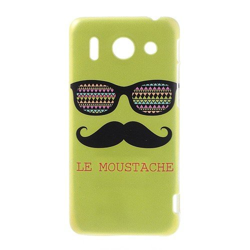 Jujeo Plastic Shell Sunglasses And Mustache Green Background For Huawei Ascend G510 U8951D - Non-Retail Packaging - Green