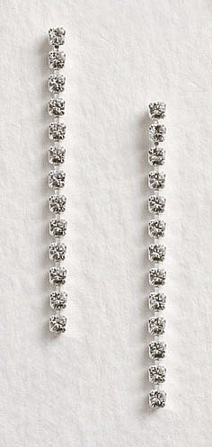 Lj Designs Simple Long Diamante Earrings (E56) - Swarovski Crystal - Gold Or Silver Finish