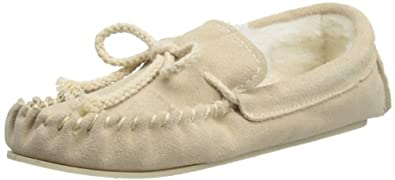 Ladies Famous Dunlop Suede Moccasin Slippers with warm faux fur Lining BEIGE size 3 UK