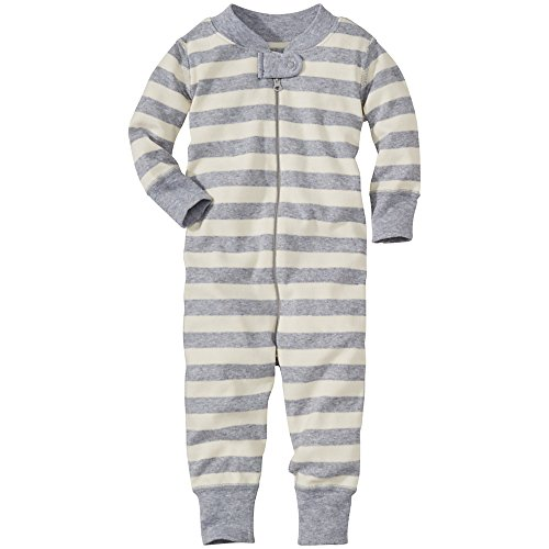 Hanna Andersson Baby Night Night Baby Sleepers In Pure Organic Cotton, Size 50 (0-6 Months), Heather Grey/Snow front-950935