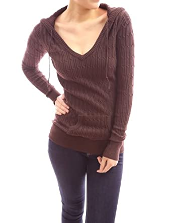 PattyBoutik Comfy Hooded Cable Knit Long Sleeve Jumper Tunic Top (Brown 8/10)